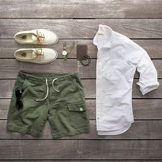 Vans olive shorts white button down Androgynous.  The shorts are a bit too short though.