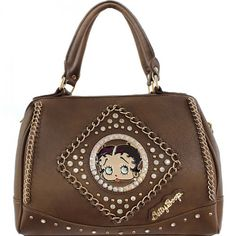 This Official Betty Boop® Rhinestone Studded Handbag with Chain Detail features: - Betty Boop® surrounded in rhinestones and goldtone studs with goldtone Betty Boop® nameplate. Betty Boop Purses, Cute Fashion, Fashion Handbags, Purses And Bags, Studs, Nameplate, Shoulder Bag, Wallet, Detail