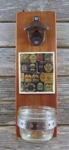 bottle opener reclaimed wood wall mount by EnchantingGardenArt