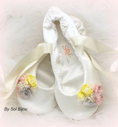 Bridal Ballet Flats Ballerina Flats in Ivory Yellow by SolBijou