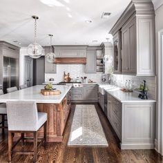 Gray & white kitchen with subway tiles