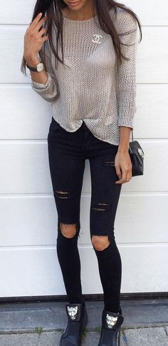 #fall #outfits · Grey Top // Destroyed Black Jeans // Sneakers