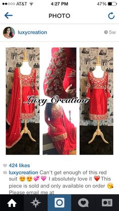 Red n gold punjabi suit Luxy creation Indian Suits, Punjabi Suits, Indian Dresses, Indian Wear, Punjabi Fashion, Indian Fashion, Women's Fashion, Beautiful Suit, Red Suit