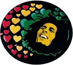 "Amazon.com: Bob Marley Hearts - Reggae / Rasta Bumper Sticker / Decal (4.5"" X 4""): Automotive $5.95 + free shipping Seller: Peace Resource Project"