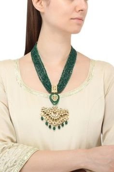 Just Jewellery Featuring a gold plated jadtar pendant with green stone and drops, along with green beads multi string necklace, set in metal alloy. Bead Jewellery, Gold Jewelry, Women Jewelry, Jewelery, Indian Necklace, Indian Jewelry, Antique Jewellery Designs, Jewelry Design, Rajputi Jewellery