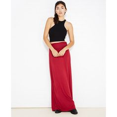Essential Maxi Skirt With Ruched Waistband ($13) ❤ liked on Polyvore featuring skirts, beet red, white high waisted skirt, long white skirt, wet seal, elastic waist skirt and high waisted skirts