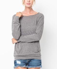 Another great find on #zulily! Charcoal Boatneck Pullover Sweater - Women #zulilyfinds