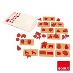 Percezione tattile 1. Un gioco per impostare il riconoscimento visivo e tattile nei bambini.  I pezzi bidimensionali di diversa forma e dimensione devono essere associati alla giusta figura, un esercizio che richiede attenzione e memoria.