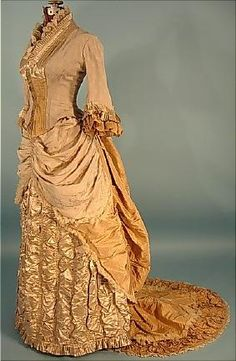 Victorian Dress - c. 1882 2-piece Trained Light Taupe Silk Crepe and Satin Two-Tone Dinner Gown with Golden Silk Taffeta Trim and Train!