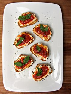 Roasted Red Pepper & Ricotta Crostini - Overhead 1