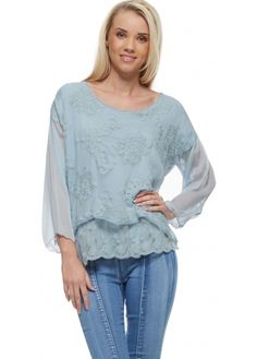 J&L Paris Blue Embroidered Silk Layered Blouse Top