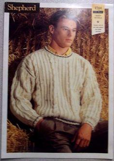 Shepherd knitting Pattern Leaflet no.1704 Man's Jumper 12 ply sizes 80-120 cm.  http://stores.ebay.com.au/helenafashions