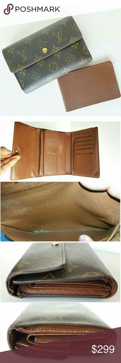 LOUIS VUITTON 3-FOLD WALLET W/ PASS HOLDER Well Used condition - shows signs of visible wear throughout. The exterior coated canvas has wear & corner scuffs & loose stitching. The goldtone hardware has surface scratches. The interior lining shows signs of wear, scuffs & marks. There is a tiny tear near the date code. This item is completely usable. No holes or strong smell. Please check all photos provided. Sold as is.  100% Authentic Made in France Date Code: SP1004 Louis Vuitton Bags…
