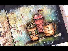 TIM HOLTZ COFFEE BLUEPRINT ART JOURNAL – NIKA IN WONDERLAND Mixed Media Art Tutorials. Video