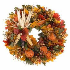 We welcome the season with this colorful Harvest Celebration Dried Fall Wreath. Dancing maple leaves with acorns, flax and straw flowers are complemented by a bundle of natural corn and quince slices. A great wreath for indoors that will be admired by family and friends. Ships for free! $73.99