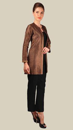 Black and Gold Banarasi Zari Weave Pure Brocade Silk Jacket with Pants