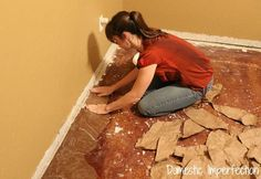 Paper Bag Floors.  Tutorial shows how to transform a floor with brown paper, Elmer's glue and water.  I'll bet this would work on a table top pe dresser for a leather look.