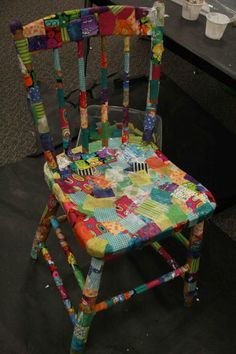 decoupage a chair - would be perfect for kids desk chairs!