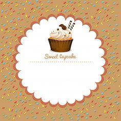 Fronteira com cupcake de café Vetor grát. Coffee Cupcakes, Sweet Cupcakes, Pink Cupcakes, Cupcake Tray, Cupcake Cakes, Cake Icon, Cupcake Packaging, Arts Bakery, Cake Logo Design