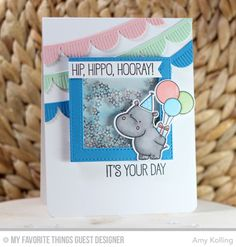 Handmade card from Amy Kolling featuring Happy Hippos Stamp Set and Die-namics, Stitched Square Frames Die-namics, Essential Fishtail Sentiment Strips Die-namics and Fringed Scallop Borders Die-namics from My Favorite Things #mftstamps