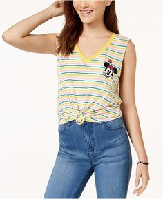 a379c5ec00c Love Tribe Juniors  Disney Minnie Mouse Striped Knot-Front Tank Top Juniors  - Tops - Macy s