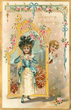 VALENTINE GREETINGS  girl adjusts old style dress, boy peeks from behind screen