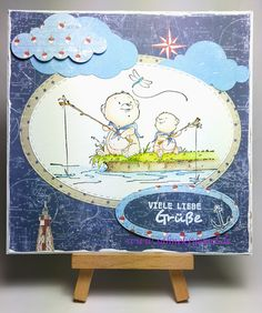 """Maritime greeting card with  """"Gone fishing"""" Whimsy Stamps; Designerpaper Paper Pad """"Life by the Sea"""" Maja Design; Ovale Dies  """"XXL Ovals"""" & Cloud dies Crealies; Sentiment Marianne Design; Embossingpowder WOW; colored with TwinklingsH2O"""