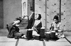 Geisha eating noodles, ca 1892-95. Photo by T. Enami.