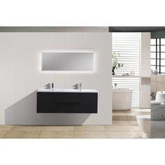 Wall Mounted Double Sink Bathroom Vanity - MOB60D-RB