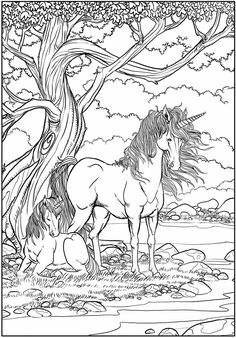 Unicorns Coloring Page | Mythical Creatures | Fantasy Animals | Free Printable for Personal Use Only