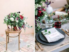 Say hello to this seriously lovely, organic, jewel tone wedding inspiration captured by Julie Wilhite Photography! While using hues of deep berry and plum, this shoot still manages to feel soft and romantic thanks to the greenery-filled floral arrangements by Remi & Gold. The table scene was set with candlesticks, organic elements like artichokes and figs, natural wood pieces and custom calligraphy place cards. #juliewilhitephotography #remiandgold #unbridaled #birchandbrassvintagerentals