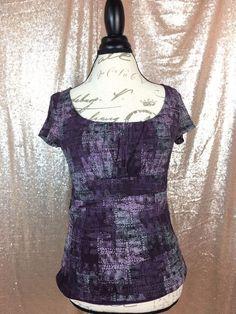 Axcess Liz Claiborne M Purple Print Casual Cap Sleeve Chiffon Layered Knit Top  | eBay