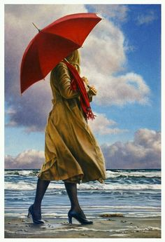 Paul Kelley's sensual art has a romantic appeal, from his figurative painting, fashion artwork, and nude art prints, to his dance artwork and Nova Scotia art. Realistic Paintings, Paintings I Love, Figurative Kunst, Creation Photo, Umbrella Art, Ouvrages D'art, Canadian Artists, Figure Painting, Beautiful Artwork