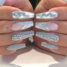 Blush pink white, silver and grey nails