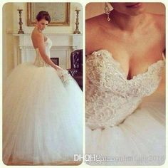 2016 Wedding Dresses Beauty White Ball Gown Tulle With Sequins Bead Lace Up Floor Length Bridal Dresses Formal Occasions Strapless Dresses Ball Gown Wedding Dresses Strapless Neck Dresses Bridal Gowns Online with $217.14/Piece on Yahuifang2016's Store | DHgate.com