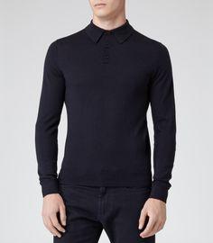 Mens Navy Wool Polo Shirt - Reiss Boulter