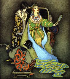 """The Magic Mirror"" - a Snow White Illustration by Jennie Harbour, an Deco Era illustrator. I think this piece captures SW's meekness and the Queen's arrogance perfectly."