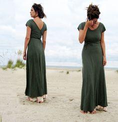 Long Flip Wrap Dress hemp/ organic cotton knit by gaiaconceptions, $155.00 (Large, Olive)