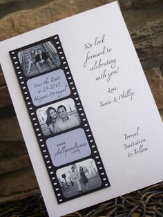 Save The Date Photo Booth Film Strip Magnet by PapelLindo on Etsy, $1.70- a little more elegant with a pale pink backing.