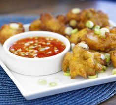 Crab & corn cakes with chilli dipping sauce