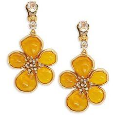 Oscar De La Renta Crystal and Cabochon Flower Drop Earrings