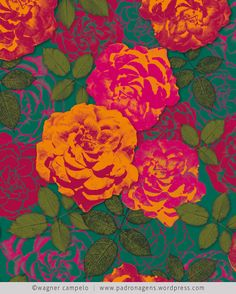 Bed of Roses Pattern Textile Prints, Textile Patterns, Cool Patterns, Print Patterns, Art Prints, Floral Patterns, Bed Of Roses, Impression Textile, Colorful Roses