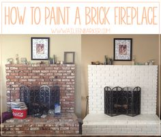 How to Paint a Brick Fireplace, tips and tricks on giving your fireplace a fresh new look via AileenBarker.com