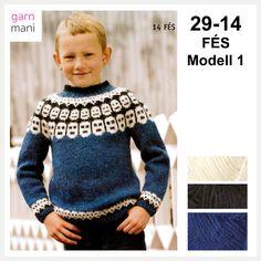 29-14 FÉS Modell 1 - Garnmani.no - Spesialist på islandsk ull Fes, Ravelry, Men Sweater, Graphic Sweatshirt, Sweatshirts, Sweaters, Scrapbooking, Black, Fashion
