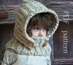 CROCHET PATTERN hood Hooded Cowl Crochet baby por WOOLLENcloud
