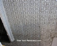 Distressed old tin ceiling Embossed Wallpaper, Textured Wallpaper, Old Victorian Homes, Victorian House, Pressed Tin, Wallpaper Ceiling, Floors And More, Tin Walls, Make Your Own