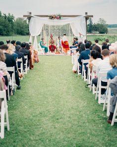Photography: Geneoh - geneoh.com Wedding Dress: Prashe Shah - www.prashedecor.com/ Groom's Attire: Hugo Boss - hugoboss.com   Read More on SMP: http://www.stylemepretty.com/2014/11/14/rustic-indian-fusion-wedding-in-wisconsin/