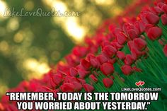 Remember, today is the tomorrow you worried