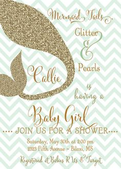 044c62190 Mermaid Baby Shower Invitation printable/Digital File/Girl Baby Shower,  mint and gold, under the sea,girl baby shower/Wording can be changed