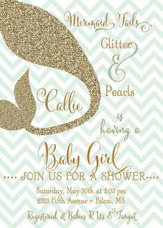 49 Best Mermaid Invitations Images Baby Shower Invitations
